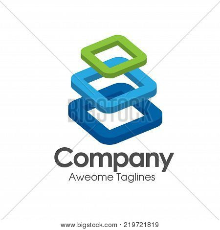 3d square logo design, Corner geometric shape, symmetric symbol, square icon, , square shape Company logo