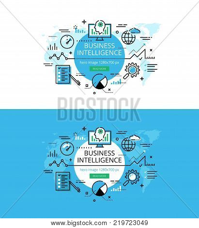 Set of modern vector illustration concepts of business intelligence. Line flat design hero banners for websites and apps with call to action button, ready to use