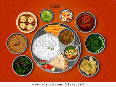 illustration of Traditional cuisine and food meal thali of Sikkim India