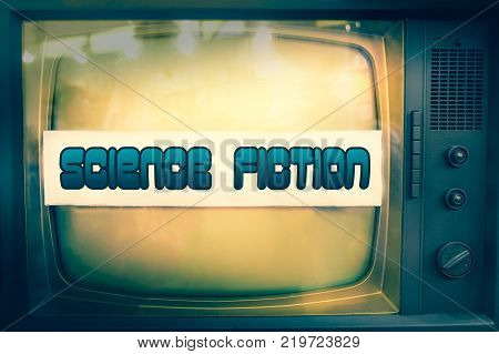 science fiction movie genre sci-fi television label old tv text scifi vintage retro blue background