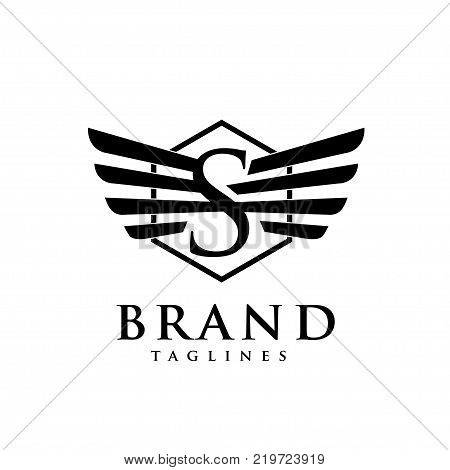 letters s with wings and hexagon logo vector, Creative Letter s with wings design element. letter s wings Corporate branding identity Vector template