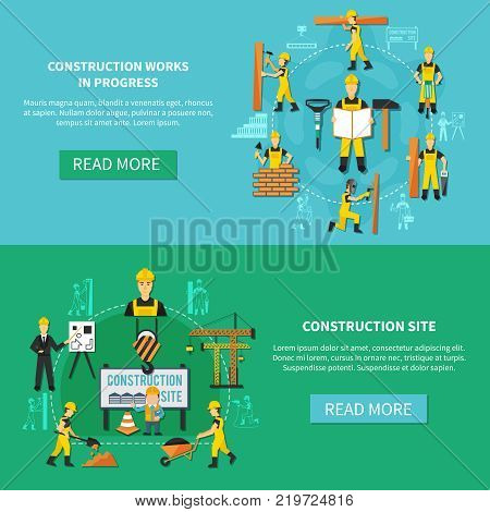 Light blue and green construction worker flat banner set with construction site and works in progress descriptions vector illustration