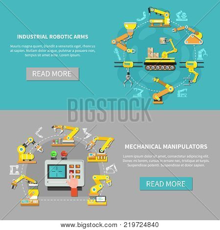 Two colored robotic arm banner set with mechanic manipulators and industrial robotic arms descriptions vector illustration