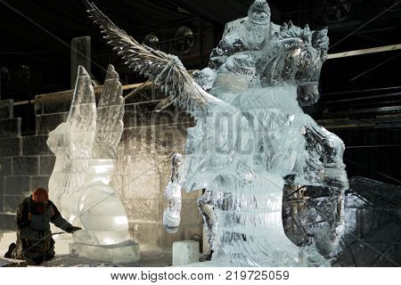 ST. PETERSBURG, RUSSIA - DECEMBER 19, 2017: Ice sculptures prepared for the opening of the festival Ice Fantasy - 2018. This year 180 tonnes of ice was used for creating ice compositions