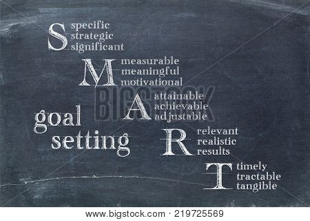 smart goal setting concept - white chalk text on a slate blackboard