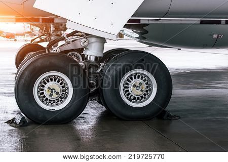 Wheels Rubber Tire Rear Landing Gear Racks, Under Wing View.