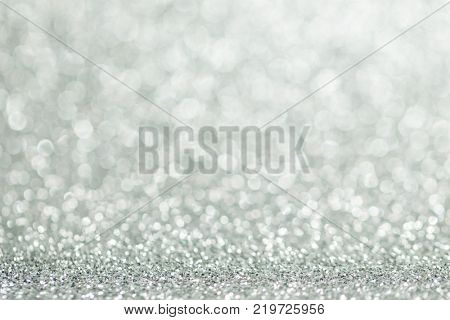 Silver glitter christmas abstract background with copy space