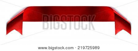 Fabric red ribbon isolated on a white background