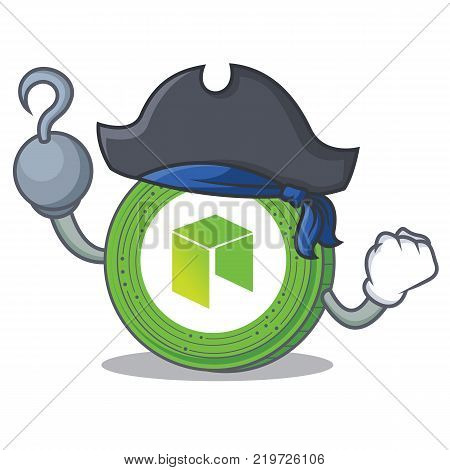Pirate NEO coin character cartoon vector illustration
