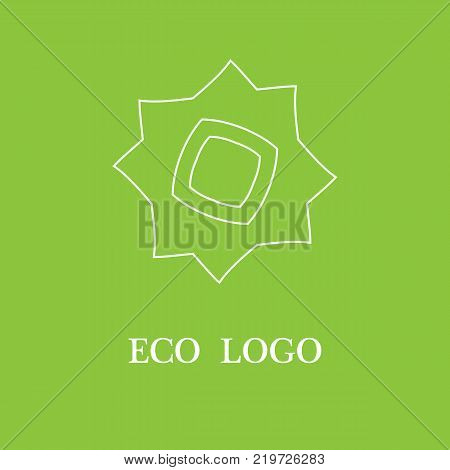 Vector template for logotype design and emblem with stylized flower - icon for yoga studios, holistic medicine centers, natural cosmetics.