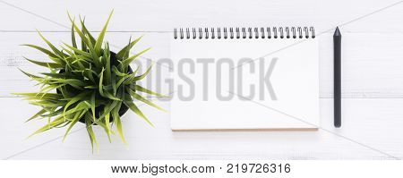 Minimal work space - Creative flat lay photo of workspace desk. White office desk wooden table background with open mock up notebooks and pens and plant. Top view with copy space flat lay photography