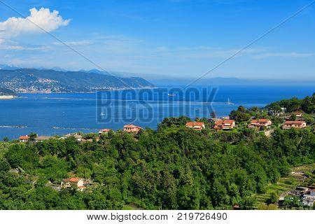 SPEZIA, ITALY - MAY 24, 2017: Incredible spring view of port of La Spezia city. Sunny morning scene of Mediterranean sea, Liguria, Italy, Europe. Magnificent Mediterranean landscape.