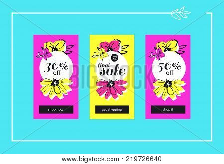 Vector final flower sales banners for website and mobile design, email, newsletter, ads and promotion. Web catch eye template super bright collection