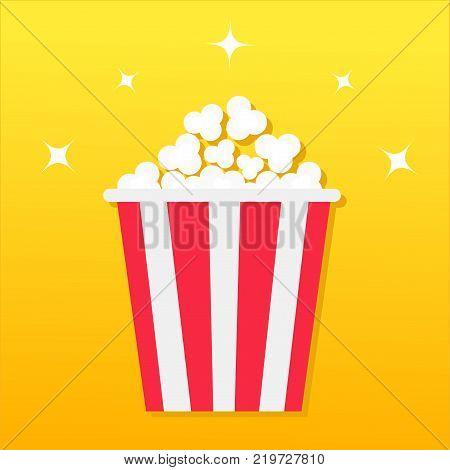 Popcorn box. Movie Cinema icon in flat design style. Pop corn icon. Yellow gradient background. Shining stars. Flat design. Vector illustration