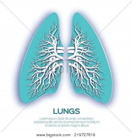 Lungs origami. Blue Paper cut Human Lungs anatomy with bronchial tree. Vector design illustration.
