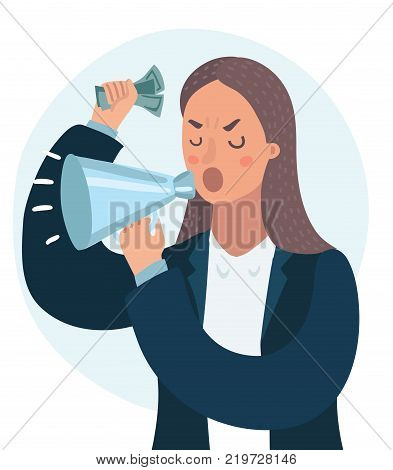Vector cartoon illustration of angry woman shout in a megaphone isolated on white background. Close up view. Wicked, authority, despotic boss, power, money
