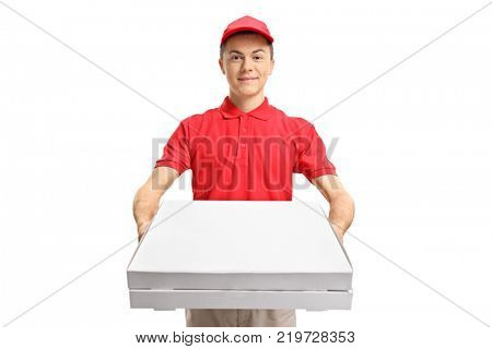 Teenage pizza delivery boy giving pizza boxes isolated on white background