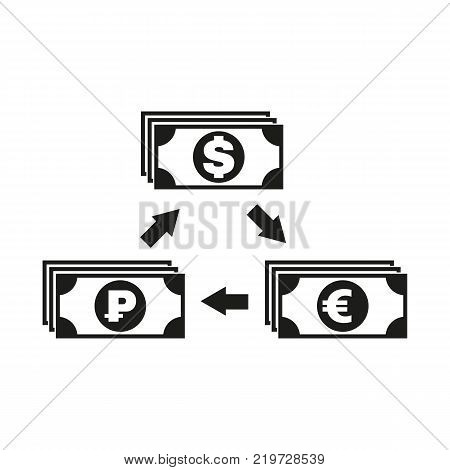 Currency exchange dollar and ruble, euro icon. Bank and finance, pay symbol. Flat design. Stock - Vector illustration