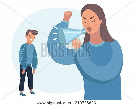 Vector cartoon illustration of mother character scolds in megaphone at her son. Human characters on white isolated background. Angry parent. Wrong education, psychology.