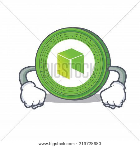 Angry NEO coin character cartoon vector illustration