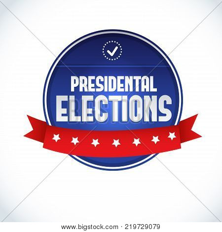2016 usa presidential election lable with red ribbon on white background flat vector illustration