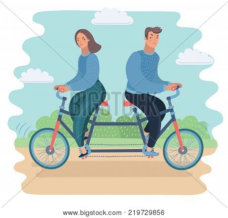 Vector cartoon ilustration oConflict of interest. Family conflict concept. Couple ride on tandem to opposite derection. Against each other.