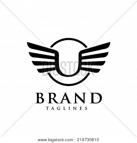letters u with wings and circle logo vector, Creative Letter u with wings design element. letter u wings Corporate branding identity Vector template