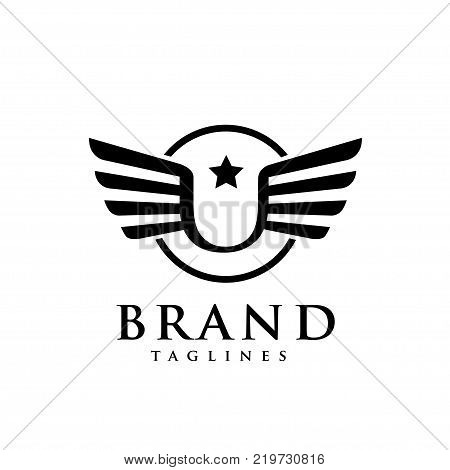 letters u star with wings and circle logo vector, Creative Letter u with wings design element. letter u wings Corporate branding identity Vector template