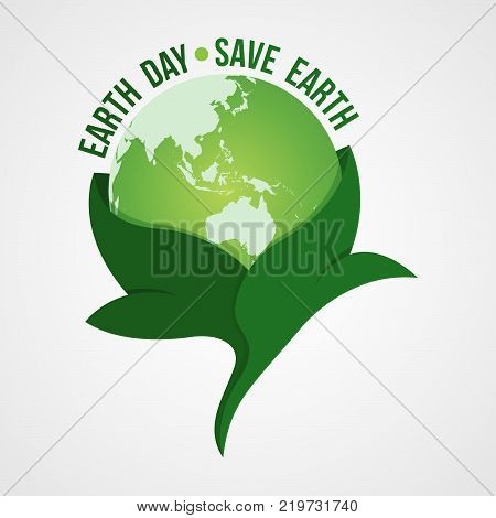 Happy Earth Day logo design.Save earth logo.Earth globe symbol wrapped in the leafs, isolated on a gradient background. Vector Earth Day card