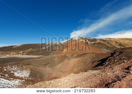 Silvestri craters and mount Etna Volcano with snow Sicily island Catania Italy (Sicilia Italia)