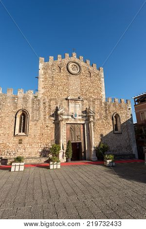 Cathedral of St. Nicholas (San Nicola di Bari) - XIII century in the Taormina town Messina Sicily island Italy