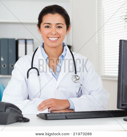 Beautiful Woman Doctor With A Stethoscope Posing