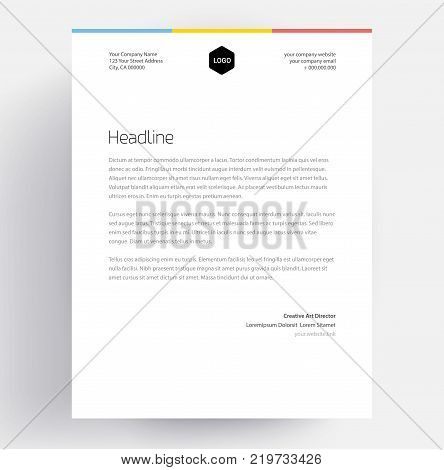 Elegant letterhead template design in minimalist style - editable business template