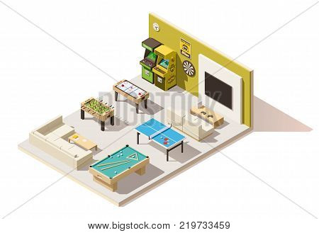 Vector isometric low poly recreation room cutaway
