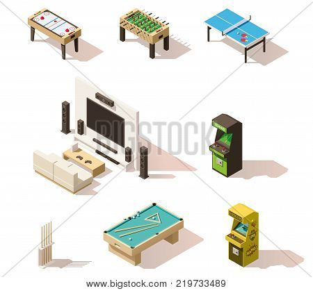 Vector isometric low poly games set. Includes table-top games, arcade video games and billiards