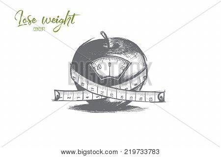 Lose weight concept. Hand drawn apple with scales and centimeter. Diet food and healthy concept isolated vector illustration.