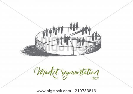 Market segmentation concept. Hand drawn illustration of a pie chart. Sectors with different people isolated vector illustration. poster