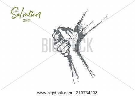 Salvation concept. Hand drawn helping hand outstretched for salvation Two hands united in a handshake isolated vector illustration.