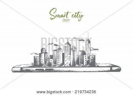 Smart city concept. Hand drawn smartphone with modern city scape. Little model of city with skyscrapers isolated vector illustration.