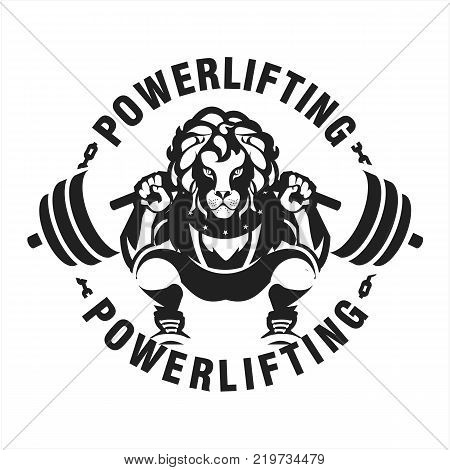 vector black and white illustration of a powerlifting squat with the bar character Leo in sports outfit on a white background isolated club emblem