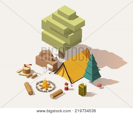 Vector isometric low poly campsite equipment and tools