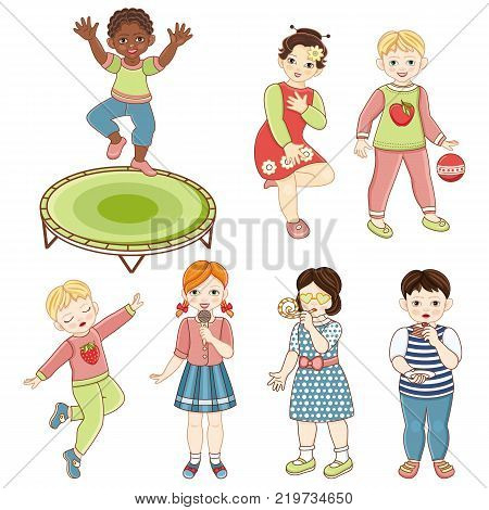 Kids, children, boys and girls jumping, dancing, singing, playing, eating birthday cake, cartoon vector illustration isolated on white background. Kids party - boys, girls sing, dance, eat cake, jump