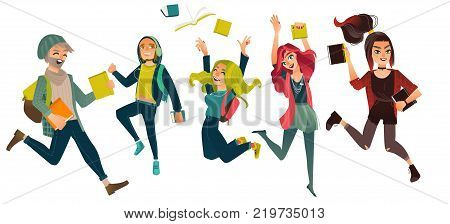 Set, group of students jumping from happiness, celebrating success, flat comic vector illustration isolated on white background. Happy hipster students, boys and girls, jumping excitedly