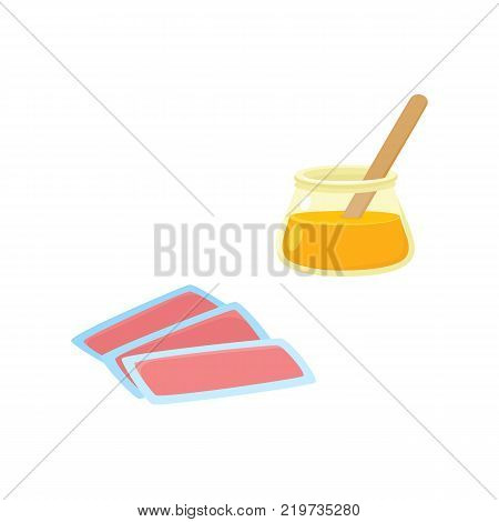 vector flat shaving, hair removal, epilation and depilation tools icon set. Wax strips and hot wax bowl. Isolated illustration on a white background.