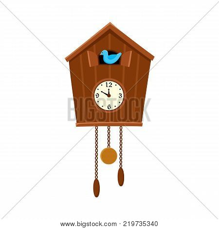 Traditional retro style cuckoo clock hanging on the wall, flat cartoon vector illustration on white background. Retro cuckoo clock hanging on the wall, interior decoration element