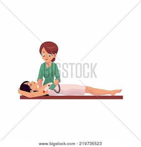 vector cartoon salon hair removal scene. Woman therapist in professional cosmetology beauty clinic removing hair from armpits of young cute girl by laser. Isolated illustration on a white background