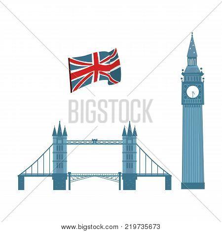 vector flat United kingdom, great britain symbols set. British flag union jack, Tower Bridge and Big Ban Tower of London icon. Isolated illustration on a white background