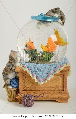 Beautiful snow globe with cats an fishes on white background