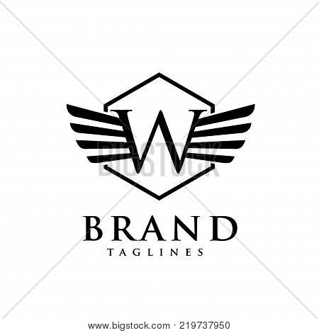 letters w with wings and hexagon logo vector, Creative Letter w with wings design element. letter w wings Corporate branding identity Vector template