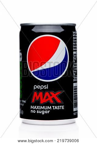 London, Uk - December 15, 2017: Aluminium Can Of Pepsi Cola Max Soft Drink On White.american Multina
